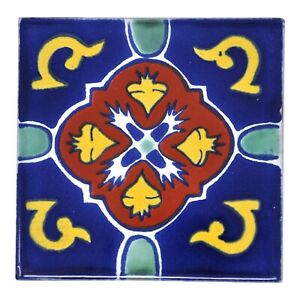 Domingo - Handmade Mexican Ceramic Talavera Large 10.5cm Tile Ethically Sourced