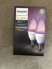 2 x PHILIPS Hue White & Colour Ambience Smart LED Bulb - Candle E14 -  twin pack