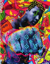 "Timmy Sneaks Oil Painting on Canvas Wall Decor Graffiti art Muhammad Ali 28x40"""