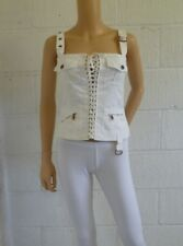 Genuine 2003 Vintage DOLCE & GABBANA White Lace Up Corset Top Summer IT42 / UK10