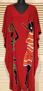 Hand painted Hand made Long Kaftan Dress New for Summer fits 24-34 stunning.