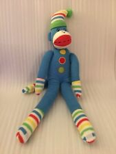 "Blue SOCK MONKEY W/Multicolored Stripes Closures On Hands & Feet 21"" Plush"