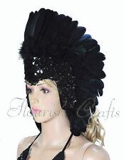Black feather sequins las vegas dancer showgirl headpiece headdress