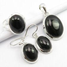 Black Onyx Pendant Earrings Ring #6.5 Bestseller Set, 925 Pure Silver Genuine