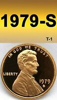 1979-S LINCOLN BRIGHT CLEAR UN-CIRCULATED PROOF PENNY 1 CENT.(FILLED S).=T-1=