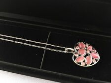 Cat's Eye Stone Pink Necklace Pendant Sterling Silver Chain with Display Case