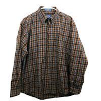 Pendleton Button Down Shirt Mens Large Brown Check Long Sleeve Wool Blend Euc