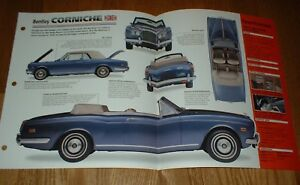 ★★1973 BENTLEY CORNICHE ORIGINAL IMP BROCHURE SPECS INFO 73 71-84★★
