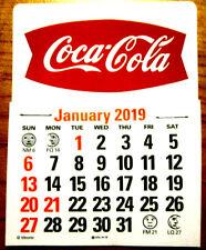 2019 Coca-Cola Fishtail Peel & Stick Red W/ White Script Dash Calendar TAX FREE