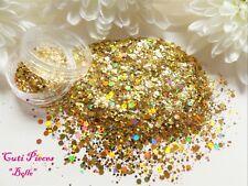 Nail Art *Princess Belle* Golds Hexagon Holographic Mix Spangle Glitter Dust Pot