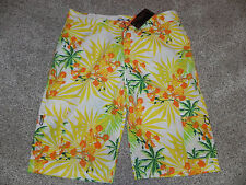 "4Fatherz Mens Board Shorts 3XL 42"" Waist Yellow Multi Color FB-322 NWT $36"