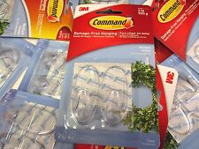 30 COMMAND 3M DAMAGE-FREE HANGING CLEAR MEDIUM HOOKS w/ STRIPS - DN 642