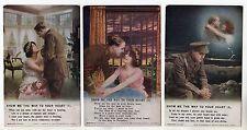 Set of 3 Bamforth Song Cards Series No 4884 / WW1