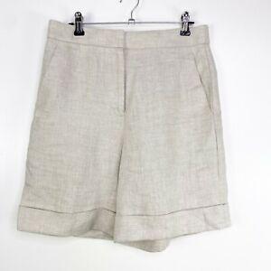 J. Crew Women Size 0 Flat Front Pocket Shorts Beige 100% Linen Bermuda Travel