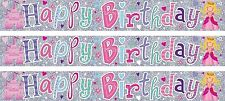HAPPY BIRTHDAY PRINCESS AND CASTLE PINK AND SILVER FOIL BANNER (SE)