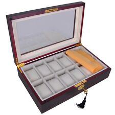 12 Slots Watch Box Display Case Glass Top Lock Jewelry Case Storage Organizer