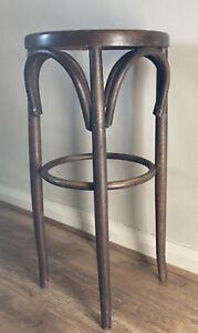 Vintage Thonet Style Bentwood Rattan Woven Seat Bar Kitchen Stool Dark Wood