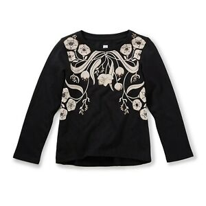 New with Tags Youth Girl's Size 12 Tea Collection Edina Black Floral Graphic Tee