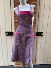 More details for vintage pink yellow green paisley tie waist full apron