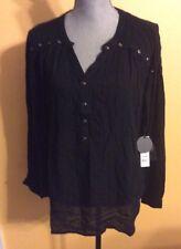 Amuse Society Ladies Sage L/S Black Sage Shirt Sz M