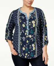 STYLE & CO Retro Refresh End Scarf Blue 3/4 Sleeve Button Blouse PLUS 3X $57