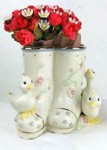 "Lenox ""Petals and Pearls"" Duck Bud Vase Ducklings & Rain Boots Fine China NIB"