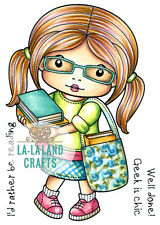MARCI WITH BOOKS-La-La Land Crafts Rubber Stamp-Stamping Craft-Reading/Librarian
