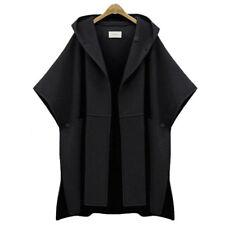 Winter Women Thick Cloak Parka Casual Coat Cape Hooded Shawl Jacket Outwear Warm