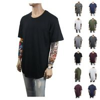 Men Extended Long T-Shirt Elongated Fashion Tee Casual Basic Hipster Fashion Tee