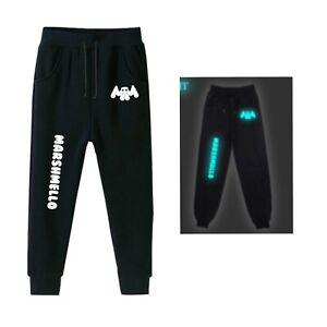 Kids Boys DJ Marshmello man soft Joggers Jogging nylon glow track bottoms Sports