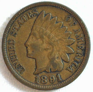 1891 Indian Head Bronze Penny One Cent 1c US Penny Very Fine Circulated Coin