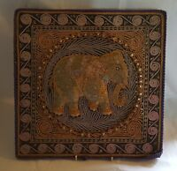 Chinese stumpwork vintage Victorian oriental antique elephant picture