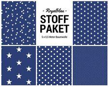 Stoffpaket royalblau 5x (0,5 x 1,50m) Patchworkpaket Baumwolle Nähpaket Stoffe