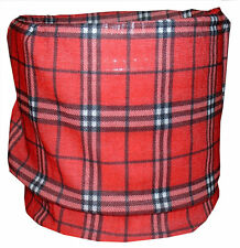 Red Black Plaid Tubular Multi Function Headwear Scarf Balaclava Beanie Cap