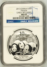 China 2013 S10Y Silver Panda NGC MS69 .999 Fine Silver RARE!!! Blue ER Label