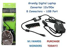 Grundig Digital Laptop Converter 12v/90w - 8 Connectors - USB Port