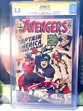 Avengers #4 CGC Sign. Series 1ST S.A. APPEARANCE Captain America Signed Stan Lee