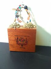 Vintage Cute Handmade Cigar Box Bag Purse-Beaded Handles & Tassles-Dovetailed
