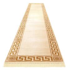 Exklusiver Mäander Teppich Läufer Beige K-Seide Creme Medusa Carpet Rug versac