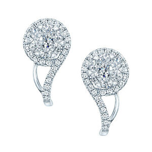14k White Gold Diamond Cluster Clef Shape Earrings Round Cut Natural 0.78 CT