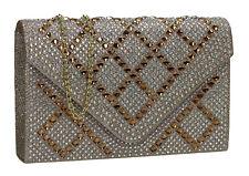 Women Satin Diamante Silver Black Gold Diamante Wedding Party Prom Clutch Bag