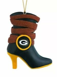 GREEN BAY PACKERS Christmas Ornament Boot Shoe Vintage NFL Football Holiday NEW