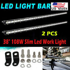 2x 38 Inch 108W Led Light Bar Flood Spot Work Beam 4WD Driving Lamp For Jeep SUV