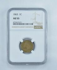 AU55 1863 Indian Head Cent - Graded NGC *360