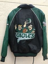 Montana Toons By Excelled Nfl Eagles x Flintstones Leather Vintage 93 Jacket Xl
