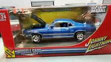 JOHNNY LIGHTNING 1969 FORD MUSTANG MACH 1 MET BLUE 1/24 Torque thrusts NIB!