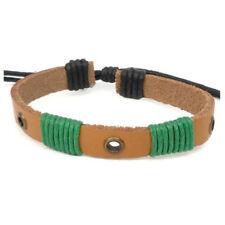 Bracelet homme femme Cuir marron cordons Coton vert oeillets réglable baroudeur