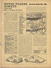 Jowett Jupiter Mk I & IA 1951-53 Motor Trader Service Data No. 208 1953