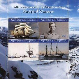 Madagascar Ships Stamps 2021 CTO Fridtjof Nansen Exploration Explorers 4v M/S