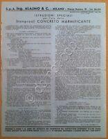 Materiali edili - Ing, Alajmo & C. - Concreto marmificante - Milano anni '50